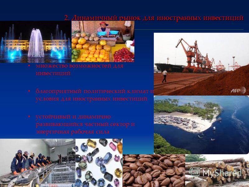 2. Динамичный рынок для иностранных инвестиций множество возможностей для инвестиций благоприятный политический климат и условия для иностранных инвестиций устойчивый и динамично развивающийся частный сектор и энергичная рабочая сила