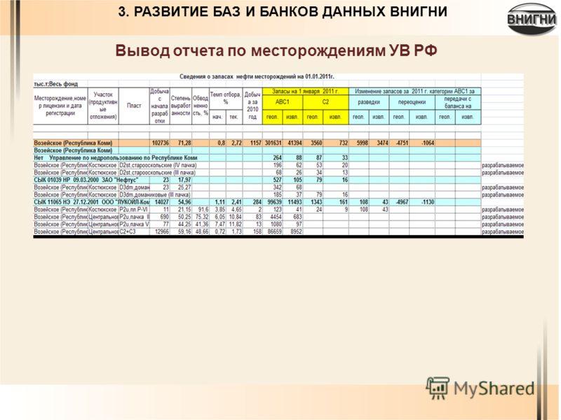 Вывод отчета по месторождениям УВ РФ 3. РАЗВИТИЕ БАЗ И БАНКОВ ДАННЫХ ВНИГНИ