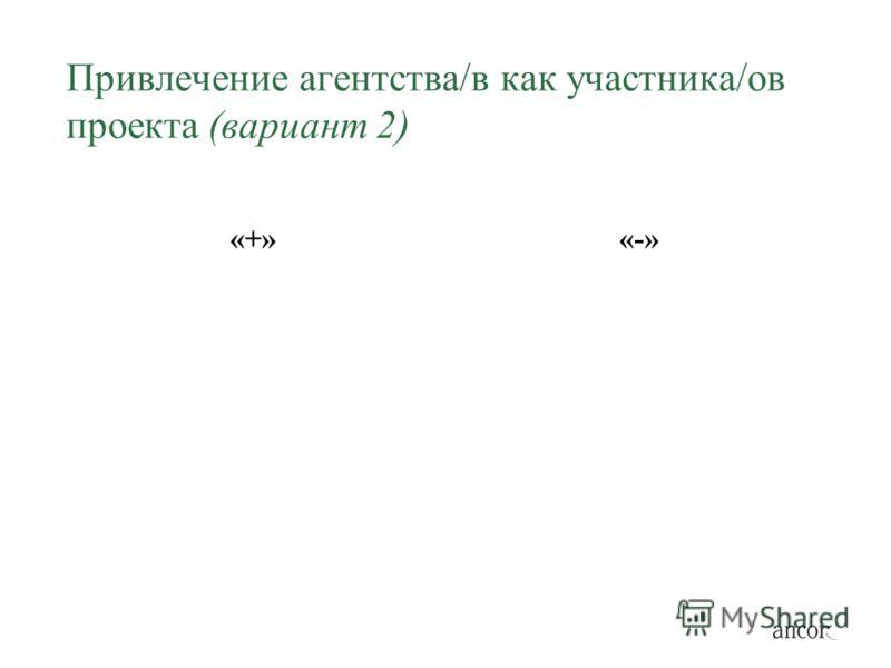 Привлечение агентства/в как участника/ов проекта (вариант 2) «+»«-»