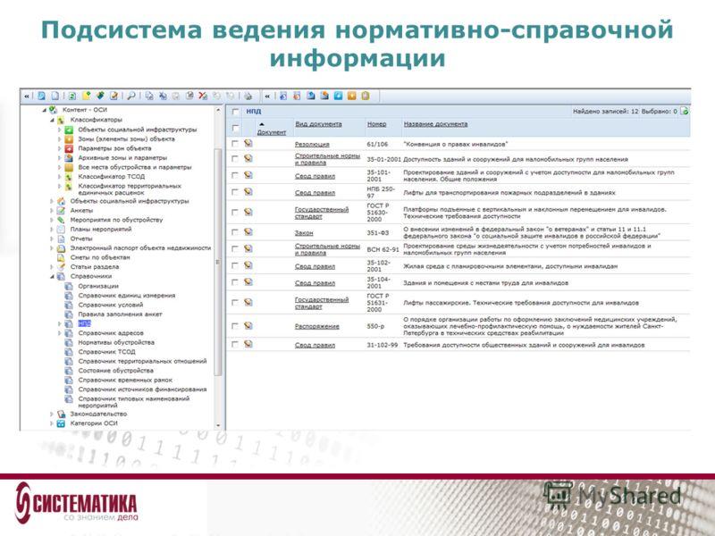 Подсистема ведения нормативно-справочной информации