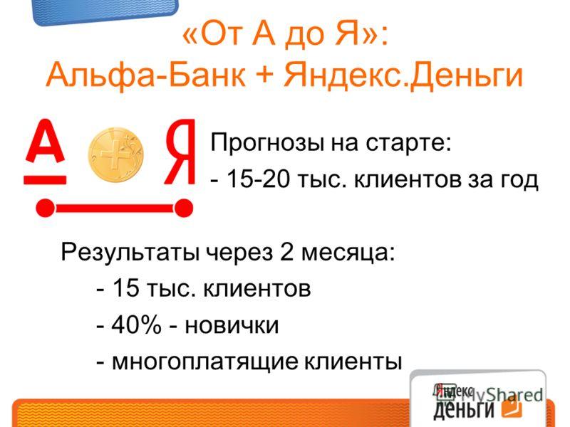 «От А до Я»: Альфа-Банк + Яндекс.Деньги Прогнозы на старте: - 15-20 тыс. клиентов за год Результаты через 2 месяца: - 15 тыс. клиентов - 40% - новички - многоплатящие клиенты