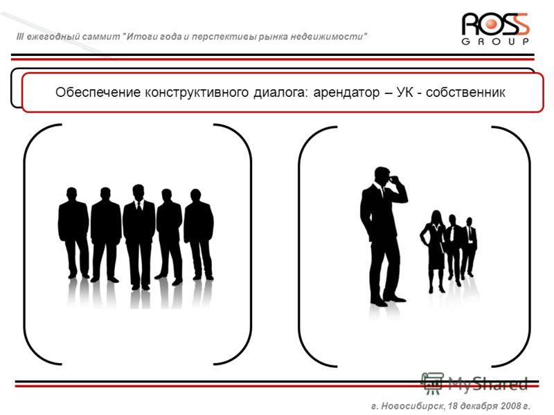 Управляющая компания и взаимоотношения с брокером Обеспечение конструктивного диалога: арендатор – УК - собственник г. Новосибирск, 18 декабря 2008 г. III ежегодный саммит Итоги года и перспективы рынка недвижимости