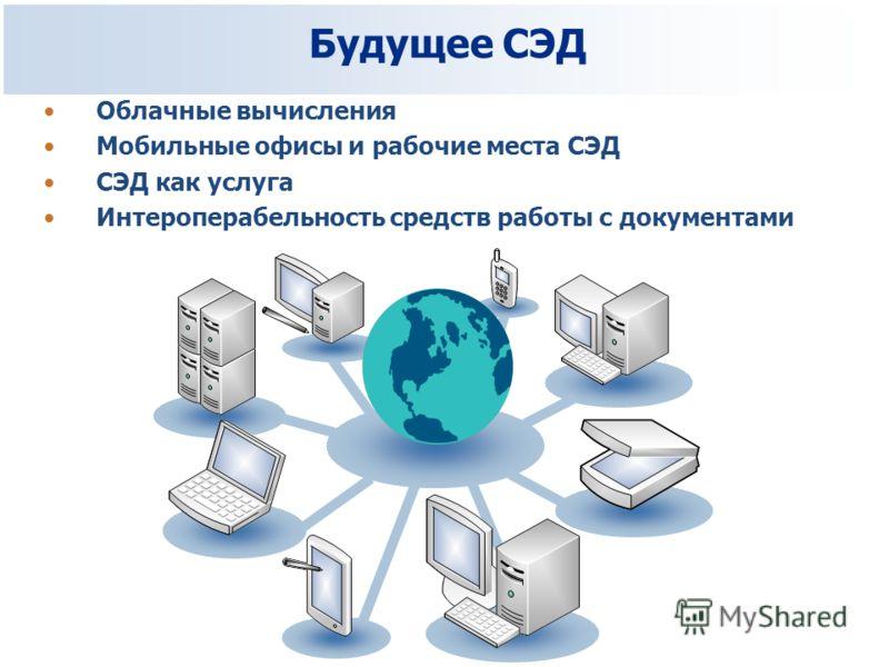 Будущее СЭД Облачные вычисления Мобильные офисы и рабочие места СЭД СЭД как услуга Интероперабельность средств работы с документами