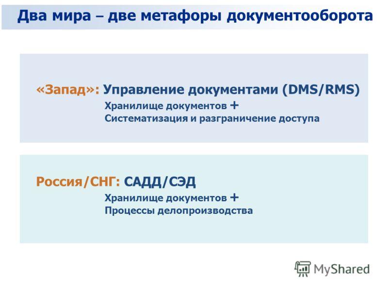 Два мира – две метафоры документооборота «Запад»: Управление документами (DMS/RMS) Хранилище документов + Систематизация и разграничение доступа Россия/СНГ: САДД/СЭД Хранилище документов + Процессы делопроизводства