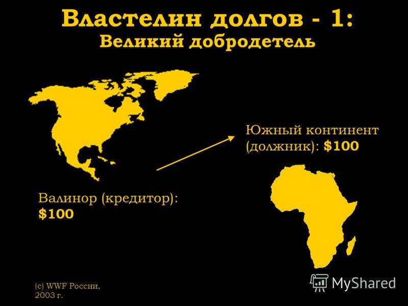 (с) WWF России, 2003 г. Властелин долгов - 1: Великий добродетель Валинор (кредитор): $100 Южный континент (должник): $100