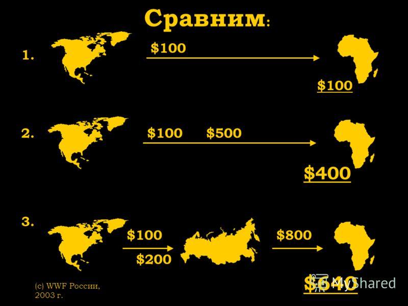 (с) WWF России, 2003 г. 1. Сравним : 2. $100 $100 $500 3. $100 $200 $800 $400 $100 $640