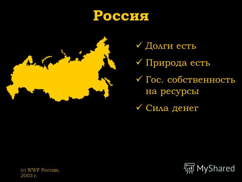(с) WWF России, 2003 г. Россия Долги есть Природа есть Гос. собственность на ресурсы Сила денег
