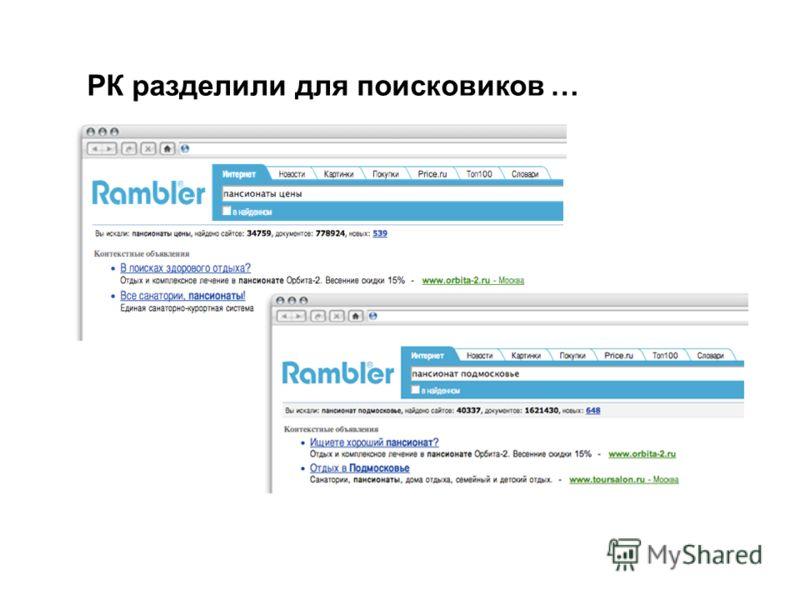 РК разделили для поисковиков … Специфика каналов распространения рекламы 22