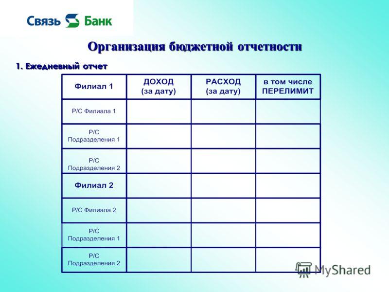 Организация бюджетной отчетности 1. Ежедневный отчет