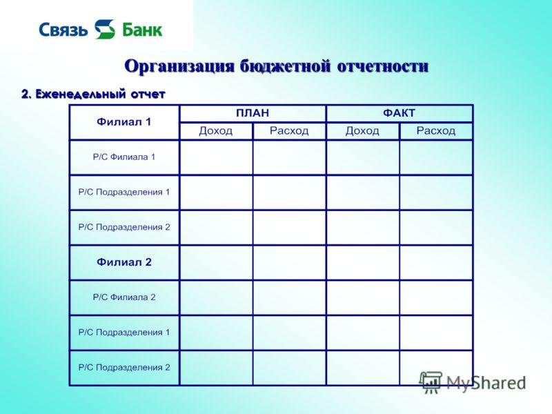 Организация бюджетной отчетности 2. Еженедельный отчет