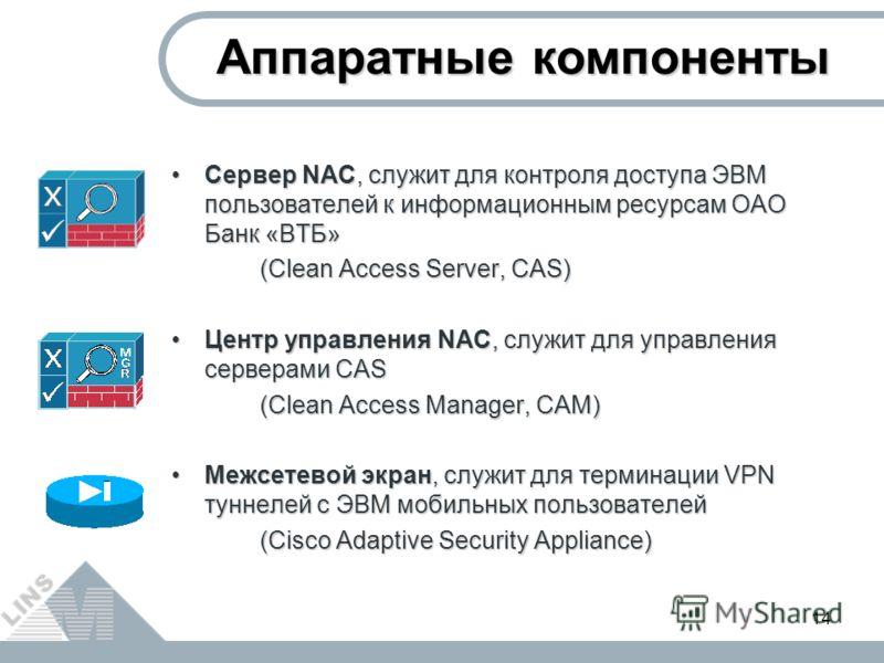 14 Сервер NAC, служит для контроля доступа ЭВМ пользователей к информационным ресурсам ОАО Банк «ВТБ»Сервер NAC, служит для контроля доступа ЭВМ пользователей к информационным ресурсам ОАО Банк «ВТБ» (Clean Access Server, CAS) Центр управления NAC, с