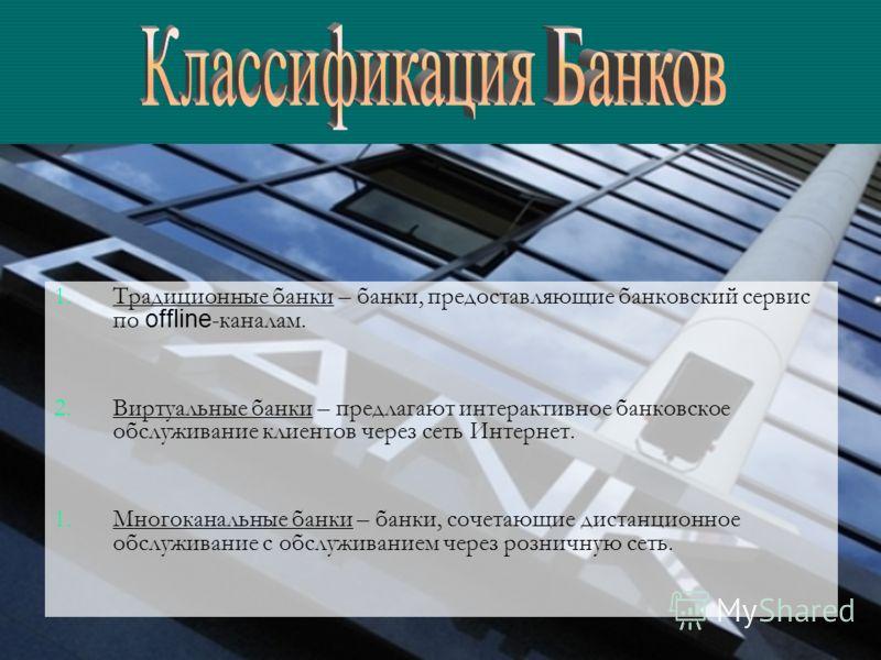 1. 1.Традиционные банки – банки, предоставляющие банковский сервис по offline -каналам. 2. 2.Виртуальные банки – предлагают интерактивное банковское обслуживание клиентов через сеть Интернет. 1. 1.Многоканальные банки – банки, сочетающие дистанционно