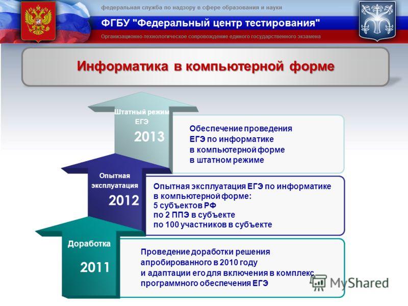 2013 2012 2011 Проведение доработки решения апробированного в 2010 году и адаптации его для включения в комплекс программного обеспечения ЕГЭ Обеспечение проведения ЕГЭ по информатике в компьютерной форме в штатном режиме Опытная эксплуатация ЕГЭ по