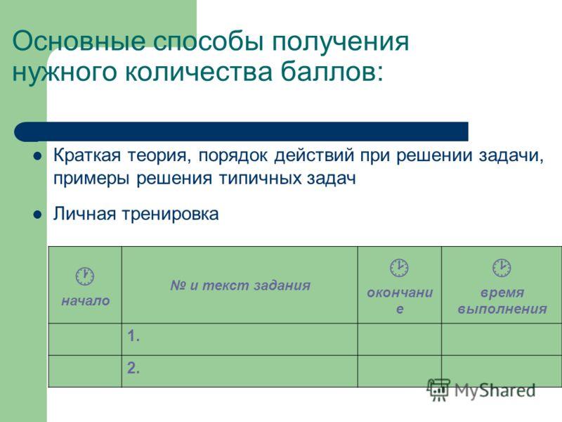 Основные способы получения нужного количества баллов: Краткая теория, порядок действий при решении задачи, примеры решения типичных задач Личная тренировка начало и текст задания окончани е время выполнения 1. 2.