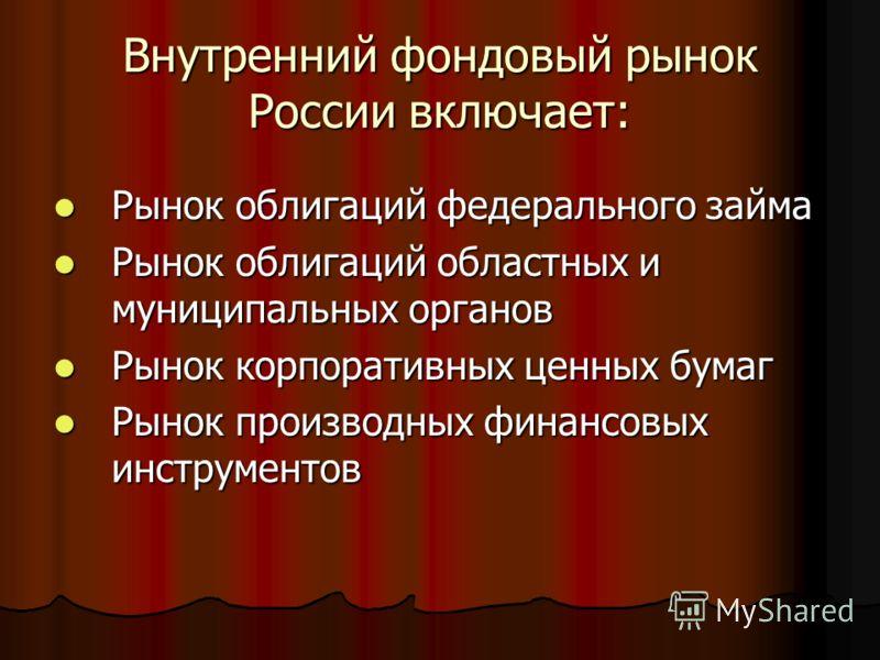 Внутренний фондовый рынок России включает: Рынок облигаций федерального займа Рынок облигаций федерального займа Рынок облигаций областных и муниципальных органов Рынок облигаций областных и муниципальных органов Рынок корпоративных ценных бумаг Рыно