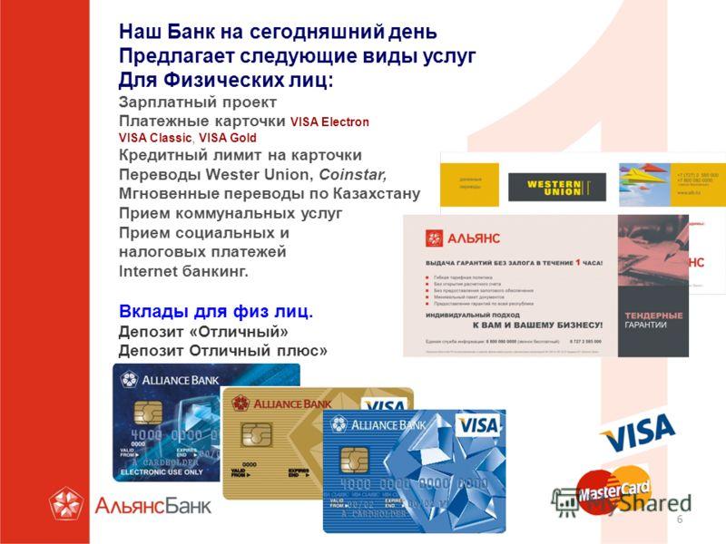 6 Наш Банк на сегодняшний день Предлагает следующие виды услуг Для Физических лиц: Зарплатный проект Платежные карточки VISA Electron VISA Classic, VISA Gold Кредитный лимит на карточки Переводы Wester Union, Coinstar, Мгновенные переводы по Казахста