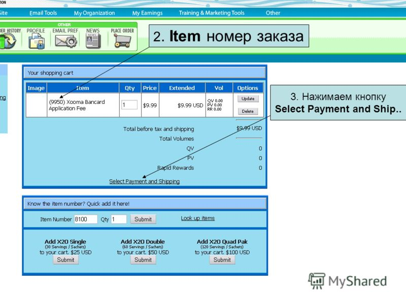 2. Item номер заказа 3. Нажимаем кнопку Select Payment and Ship..