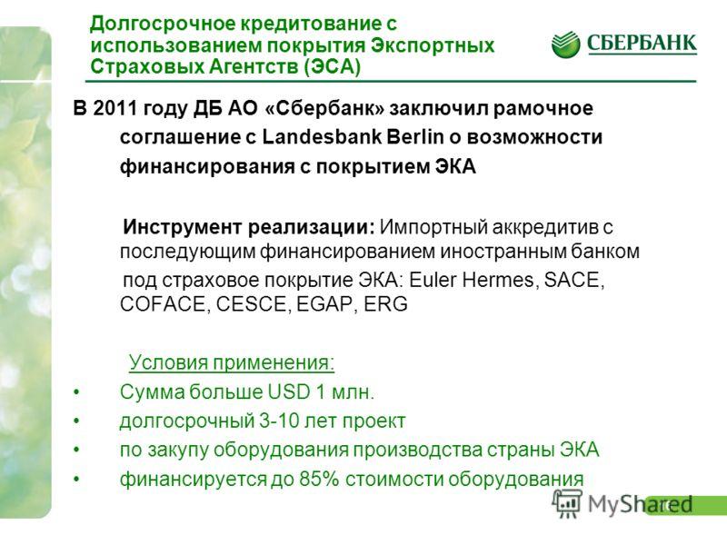 16 Долгосрочное кредитование с использованием покрытия Экспортных Страховых Агентств (ЭСА) В 2011 году ДБ АО «Сбербанк» заключил рамочное соглашение с Landesbank Berlin о возможности финансирования с покрытием ЭКА Инструмент реализации: Импортный акк
