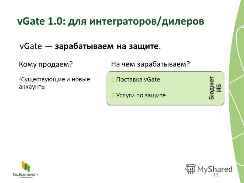 13 vGate зарабатываем на защите. vGate 1.0: для интеграторов/дилеров Кому продаем? Существующие и новые аккаунты На чем зарабатываем? 1.Поставка vGate 2.Услуги по защите
