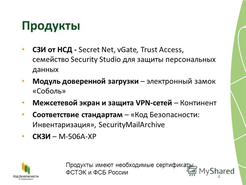 Продукты СЗИ от НСД - Secret Net, vGate, Trust Access, семейство Security Studio для защиты персональных данных Модуль доверенной загрузки – электронный замок «Соболь» Межсетевой экран и защита VPN-сетей – Континент Соответствие стандартам – «Код Без