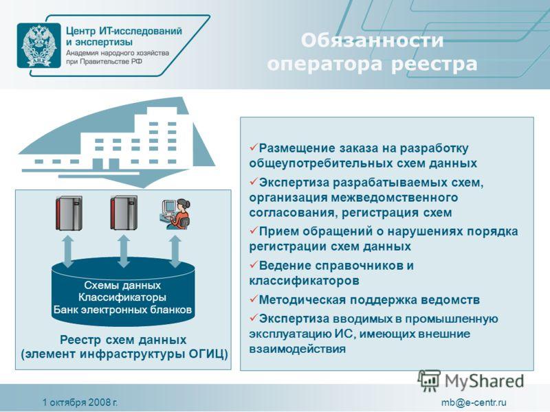 1 октября 2008 г.mb@e-centr.ru Обязанности оператора реестра Схемы данных Классификаторы Банк электронных бланков Реестр схем данных (элемент инфраструктуры ОГИЦ) Размещение заказа на разработку общеупотребительных схем данных Экспертиза разрабатывае