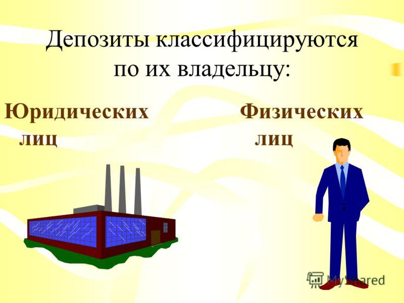 Депозиты классифицируются по их владельцу: Юридических лиц Физических лиц