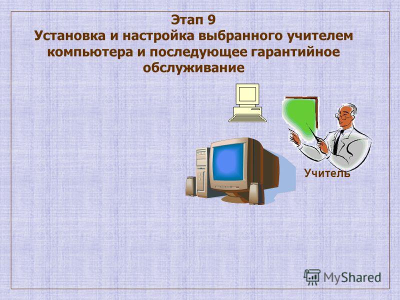Этап 9 Установка и настройка выбранного учителем компьютера и последующее гарантийное обслуживание Учитель