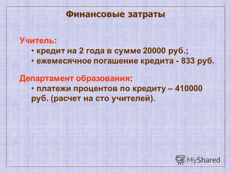 Финансовые затраты Учитель: кредит на 2 года в сумме 20000 руб.; ежемесячное погашение кредита - 833 руб. Департамент образования: платежи процентов по кредиту – 410000 руб. (расчет на сто учителей).