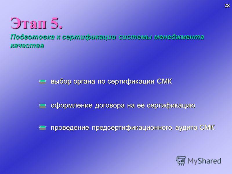 Этап 5. Подготовка к сертификации системы менеджмента качества выбор органа по сертификации СМК оформление договора на ее сертификацию проведение предсертификационного аудита СМК 28