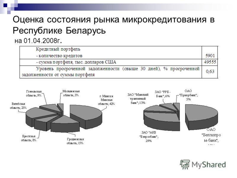 Оценка состояния рынка микрокредитования в Республике Беларусь на 01.04.2008г.