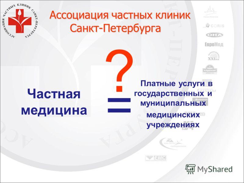Частная медицина Платные услуги в государственных и муниципальных медицинских учреждениях = ? Ассоциация частных клиник Ассоциация частных клиник Санкт-Петербурга Санкт-Петербурга