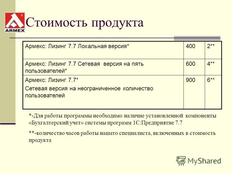 Стоимость продукта Армекс: Лизинг 7.7 Локальная версия*4002** Армекс: Лизинг 7.7 Сетевая версия на пять пользователей* 6004** Армекс: Лизинг 7.7* Сетевая версия на неограниченное количество пользователей 9006** *-Для работы программы необходимо налич