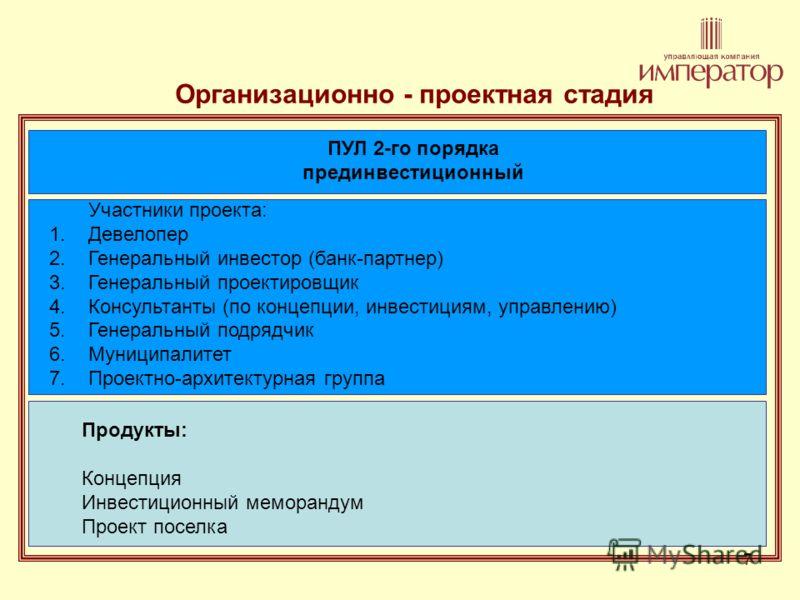 7 Организационно - проектная стадия ПУЛ 2-го порядка прединвестиционный Участники проекта: 1.Девелопер 2.Генеральный инвестор (банк-партнер) 3.Генеральный проектировщик 4.Консультанты (по концепции, инвестициям, управлению) 5.Генеральный подрядчик 6.