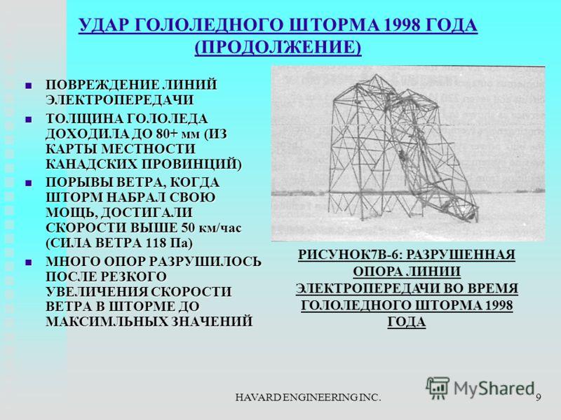 HAVARD ENGINEERING INC.9 УДАР ГОЛОЛЕДНОГО ШТОРМА 1998 ГОДА (ПРОДОЛЖЕНИЕ) ПОВРЕЖДЕНИЕ ЛИНИЙ ЭЛЕКТРОПЕРЕДАЧИ ПОВРЕЖДЕНИЕ ЛИНИЙ ЭЛЕКТРОПЕРЕДАЧИ ТОЛЩИНА ГОЛОЛЕДА ДОХОДИЛА ДО 80+ мм (ИЗ КАРТЫ МЕСТНОСТИ КАНАДСКИХ ПРОВИНЦИЙ) ТОЛЩИНА ГОЛОЛЕДА ДОХОДИЛА ДО 80+