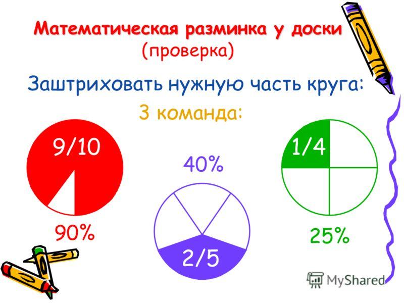 Математическая разминка у доски Математическая разминка у доски (проверка) Заштриховать нужную часть круга: 3 команда: 90% 25% 40% 9/10 2/5 1/4