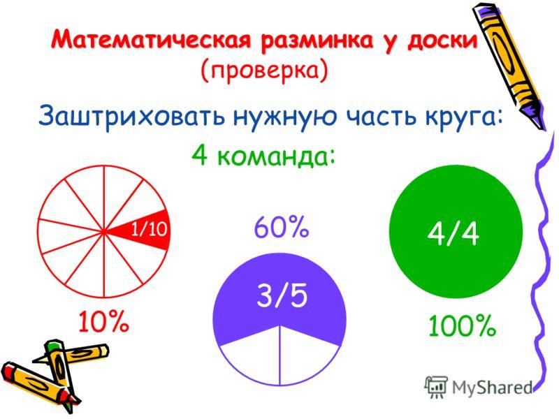 Математическая разминка у доски Математическая разминка у доски (проверка) Заштриховать нужную часть круга: 4 команда: 10% 100% 60% 1/10 3/5 4/4