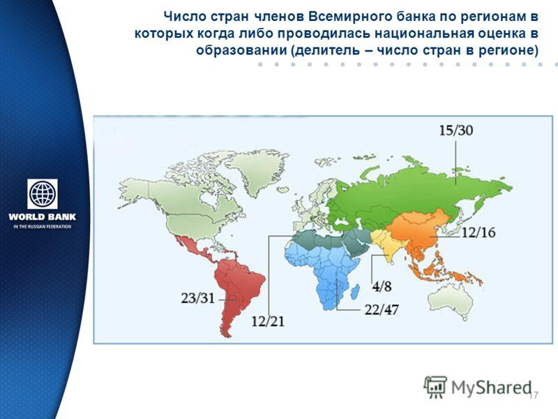 Число стран членов Всемирного банка по регионам в которых когда либо проводилась национальная оценка в образовании (делитель – число стран в регионе) 17