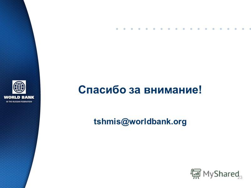 Спасибо за внимание! tshmis@worldbank.org 23