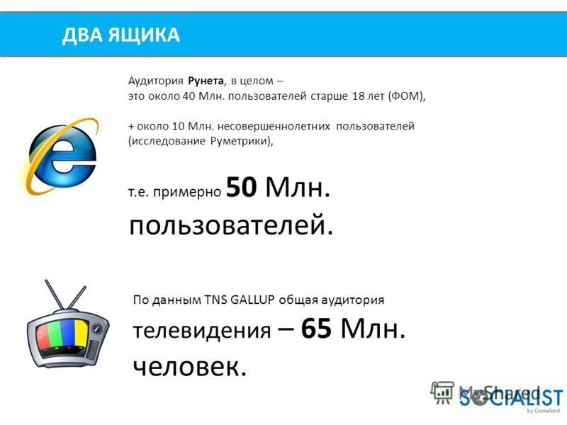 ДВА ЯЩИКА Аудитория Рунета, в целом – это около 40 Млн. пользователей старше 18 лет (ФОМ), + около 10 Млн. несовершеннолетних пользователей (исследование Руметрики), т.е. примерно 50 Млн. пользователей. По данным TNS GALLUP общая аудитория телевидени