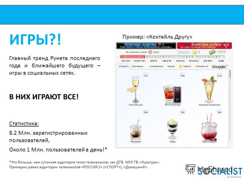 ИГРЫ?! Главный тренд Рунета последнего года и ближайшего будущего – игры в социальных сетях. В НИХ ИГРАЮТ ВСЕ! Пример: «Коктейль Другу» Статистика: 8.2 Млн. зарегистрированных пользователей, Около 1 Млн. пользователей в день!* *Это больше, чем суточн