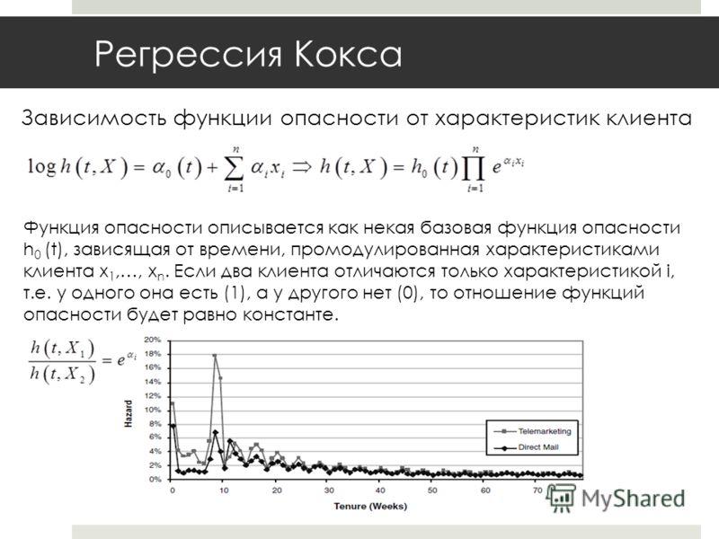 Регрессия Кокса Зависимость функции опасности от характеристик клиента Функция опасности описывается как некая базовая функция опасности h 0 (t), зависящая от времени, промодулированная характеристиками клиента x 1,…, x n. Если два клиента отличаются