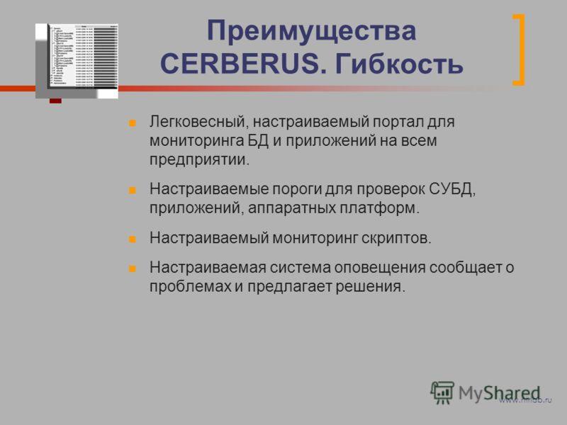 Преимущества CERBERUS. Гибкость Легковесный, настраиваемый портал для мониторинга БД и приложений на всем предприятии. Настраиваемые пороги для проверок СУБД, приложений, аппаратных платформ. Настраиваемый мониторинг скриптов. Настраиваемая система о