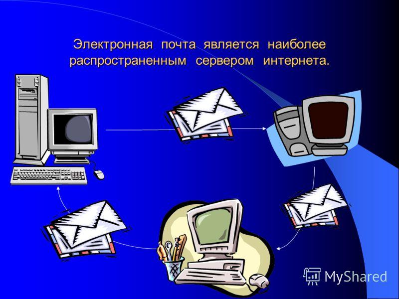 Электронная почта является наиболее распространенным сервером интернета.