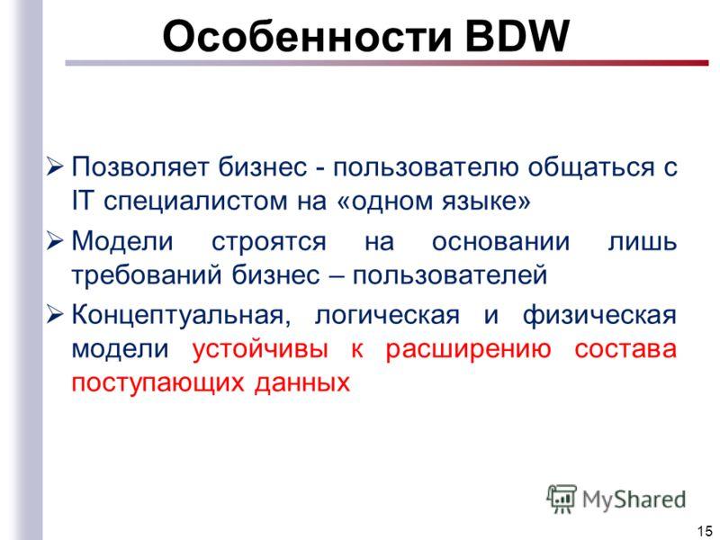 Особенности BDW Позволяет бизнес - пользователю общаться с IT специалистом на «одном языке» Модели строятся на основании лишь требований бизнес – пользователей Концептуальная, логическая и физическая модели устойчивы к расширению состава поступающих