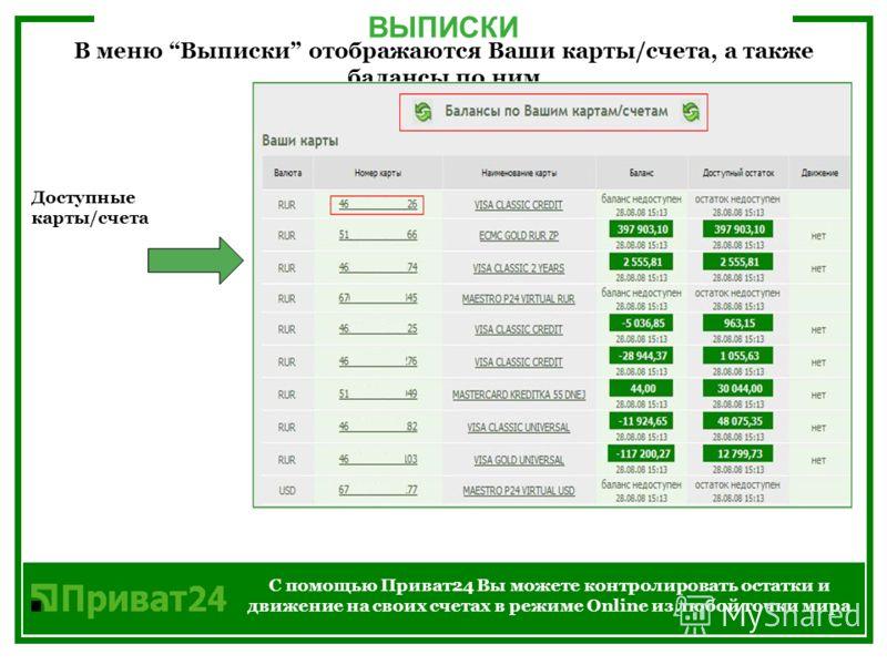 ВЫПИСКИ С помощью Приват24 Вы можете контролировать остатки и движение на своих счетах в режиме Online из любой точки мира В меню Выписки отображаются Ваши карты/счета, а также балансы по ним Доступные карты/счета
