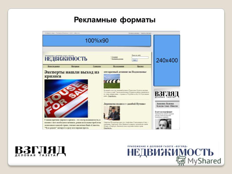 240х400 100%х90 Рекламные форматы