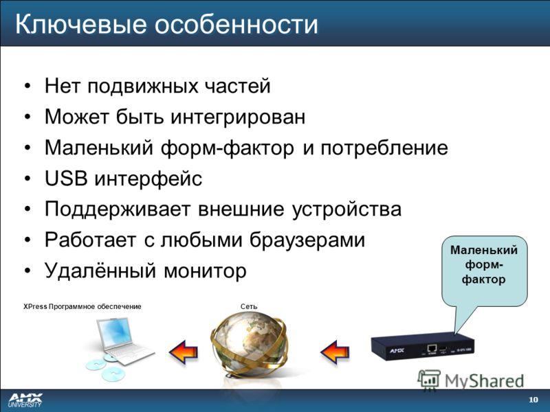 10 Нет подвижных частей Может быть интегрирован Маленький форм-фактор и потребление USB интерфейс Поддерживает внешние устройства Работает с любыми браузерами Удалённый монитор Маленький форм- фактор Сеть XPress Программное обеспечение Ключевые особе