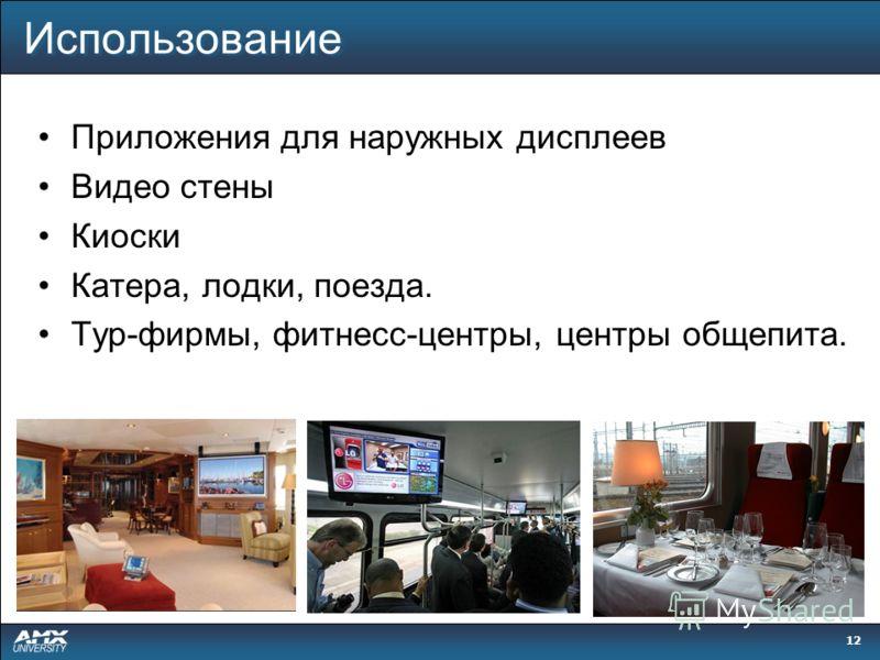 12 Использование Приложения для наружных дисплеев Видео стены Киоски Катера, лодки, поезда. Тур-фирмы, фитнесс-центры, центры общепита.