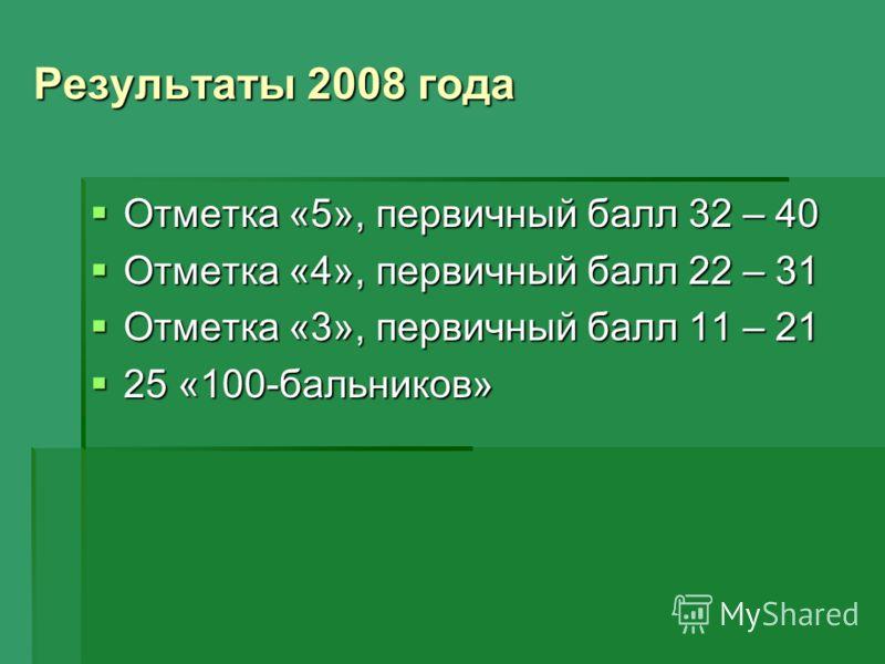 Результаты 2008 года Отметка «5», первичный балл 32 – 40 Отметка «5», первичный балл 32 – 40 Отметка «4», первичный балл 22 – 31 Отметка «4», первичный балл 22 – 31 Отметка «3», первичный балл 11 – 21 Отметка «3», первичный балл 11 – 21 25 «100-бальн