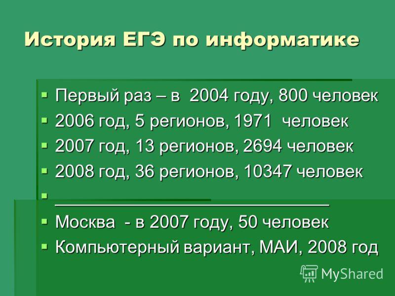 Первый раз – в 2004 году, 800 человек Первый раз – в 2004 году, 800 человек 2006 год, 5 регионов, 1971 человек 2006 год, 5 регионов, 1971 человек 2007 год, 13 регионов, 2694 человек 2007 год, 13 регионов, 2694 человек 2008 год, 36 регионов, 10347 чел